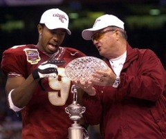 FSU's Bobby Bowden and WR Peter Warrick celebrate title win